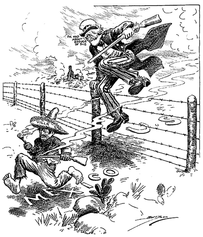 Uncle Sam runs after Villa in Clifford Berryman's editorial cartoon published following Villa's raid on Columbus in March 1916.
