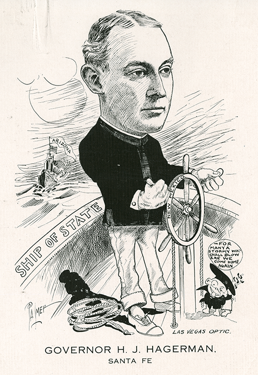 """Political Cartoon showing Governor Hagerman steering the """"Ship of State."""