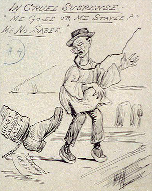 Late nineteenth century political cartoon depicting the status of Chinese migrants
