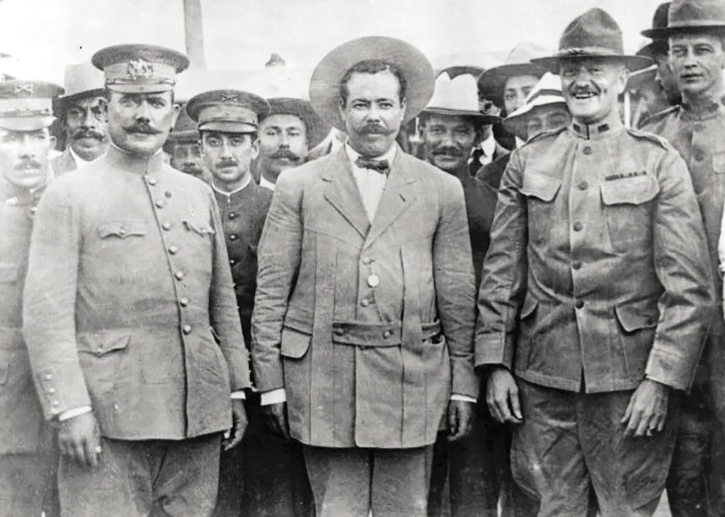 Generals Villa and Obregón met General Pershing at Fort Bliss as they traveled along the Southern Pacific en route to Sonora