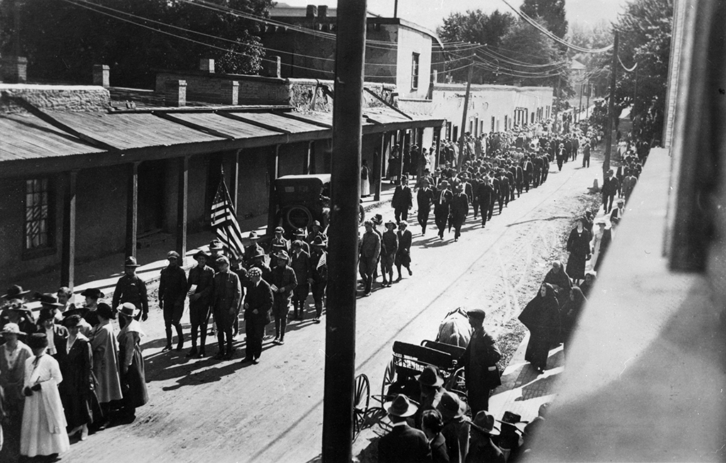 New Mexican WWI recruits on Palace Avenue in Santa Fe as they prepared to leave for training camp in 1917