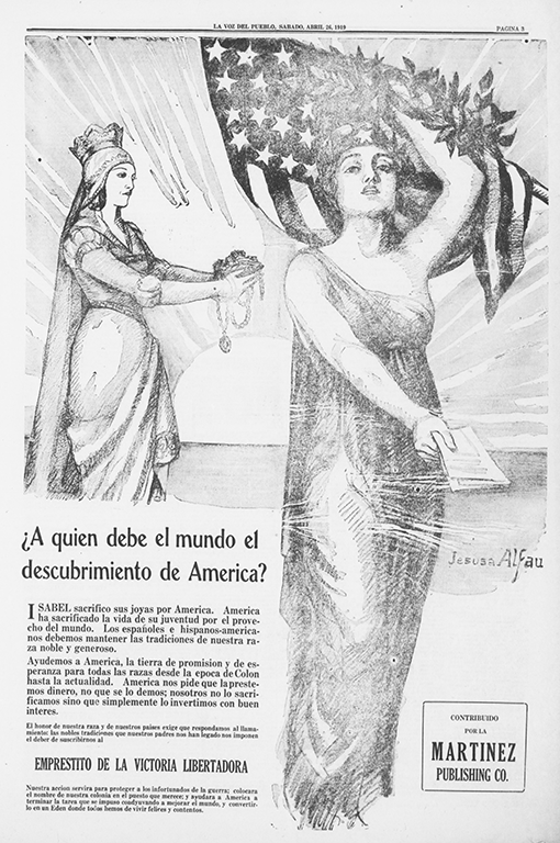Queen Isabella lending support to the Dame Columbia--a female personification of America