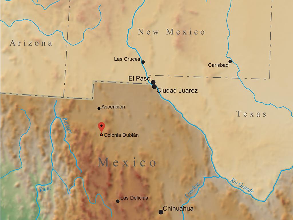 Map marking Colonia Dublán, Chihuahua