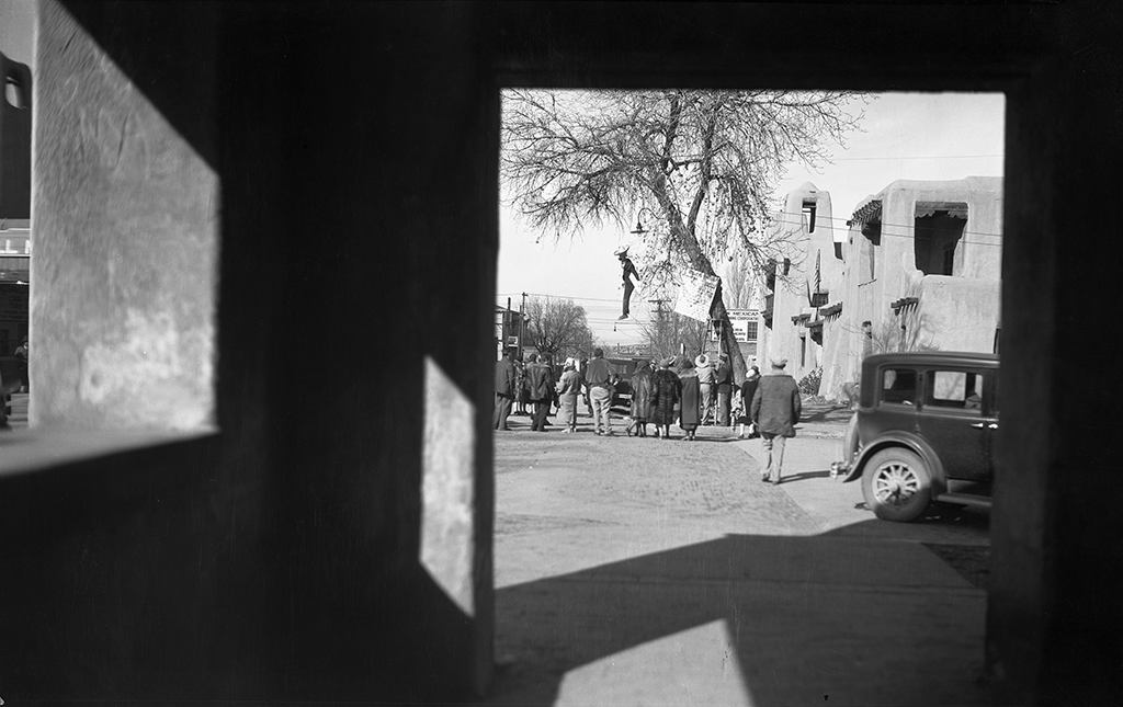 Likeness of John Collier hung in effigy near the Palace of the Governors in Santa Fe