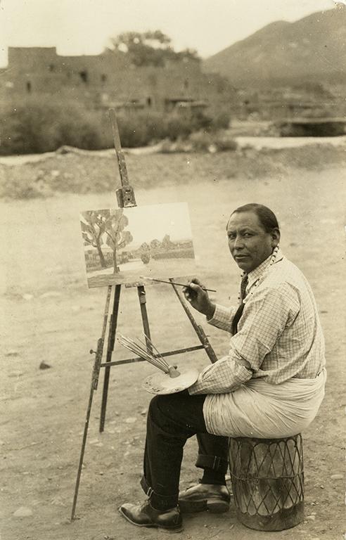 Tony Lujan or Albert Looking Elk Martínez painting