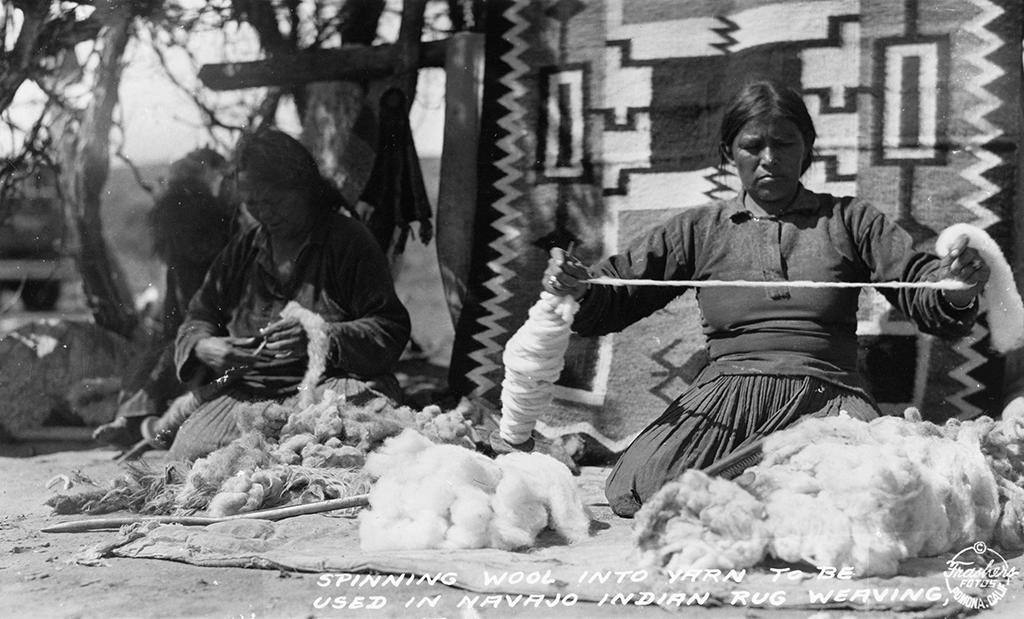 Navajo women spinning wool