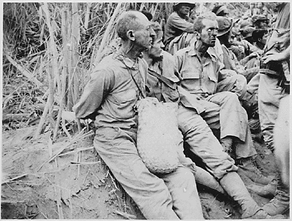 U.S. servicemen during the Bataan Death March in April of 1942