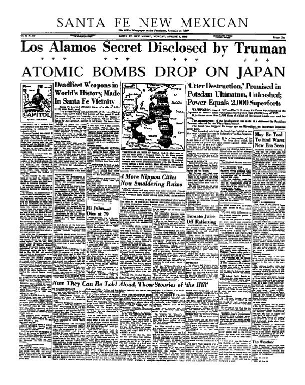 Santa Fe New Mexican Los Alamos headline