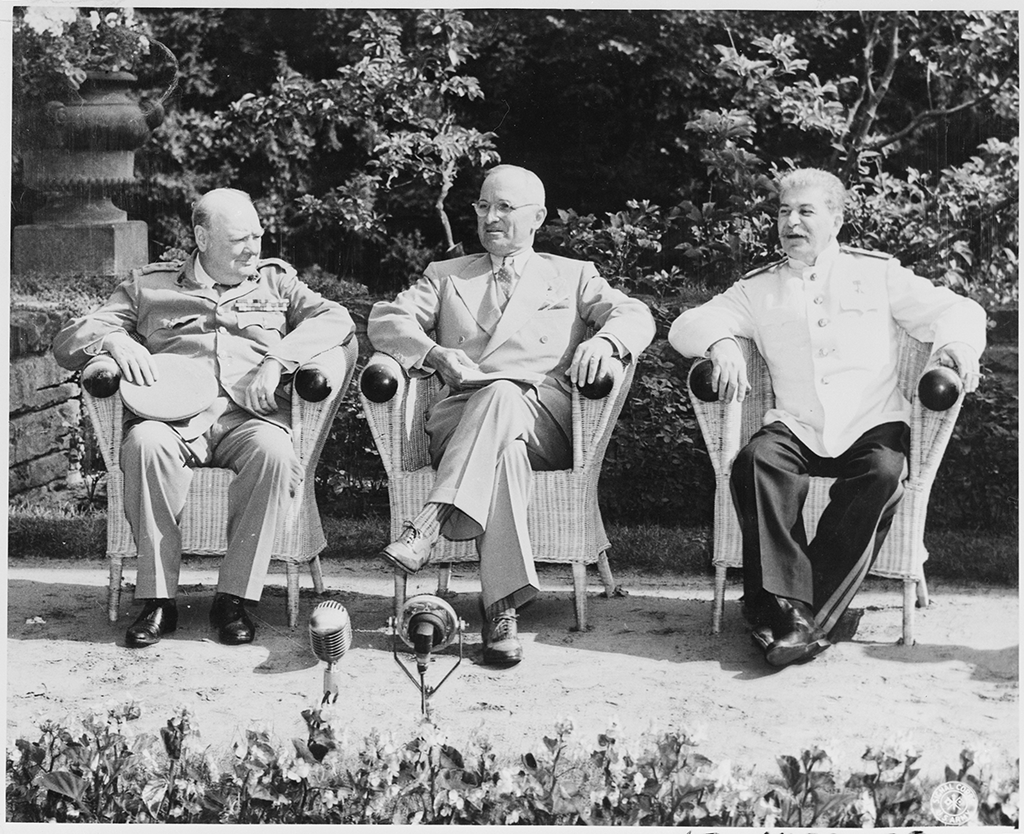 British Prime Minister Winston Churchill, President Harry S. Truman, and Soviet leader Josef Stalin just prior to the Potsdam Conference