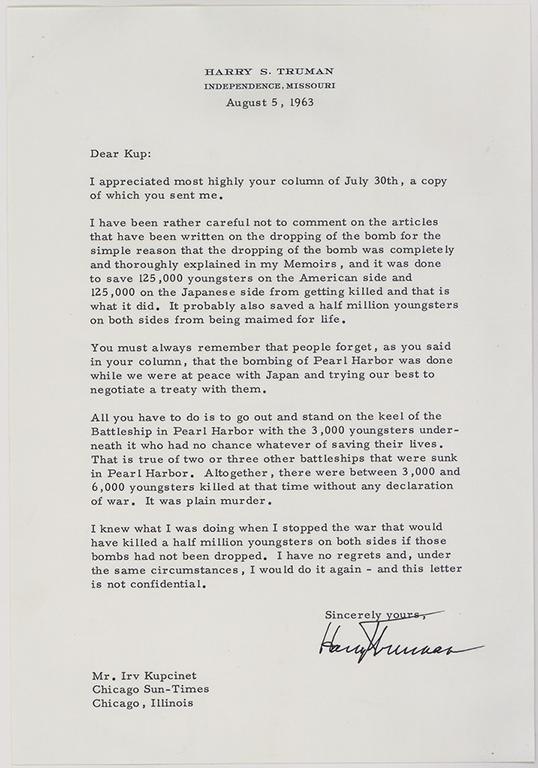 Letter intended for Chicago newspaper columnist Irv Kupcinet from President Truman