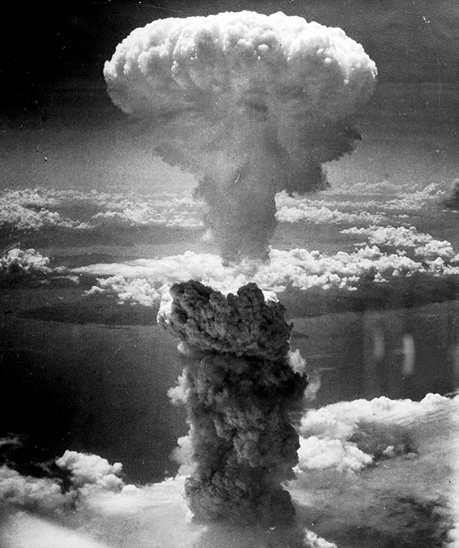 The mushroom cloud produced from the atomic bombing of Nagasaki on August 9, 1945
