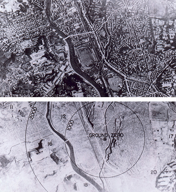 Nagasaki before and after the atomic blast