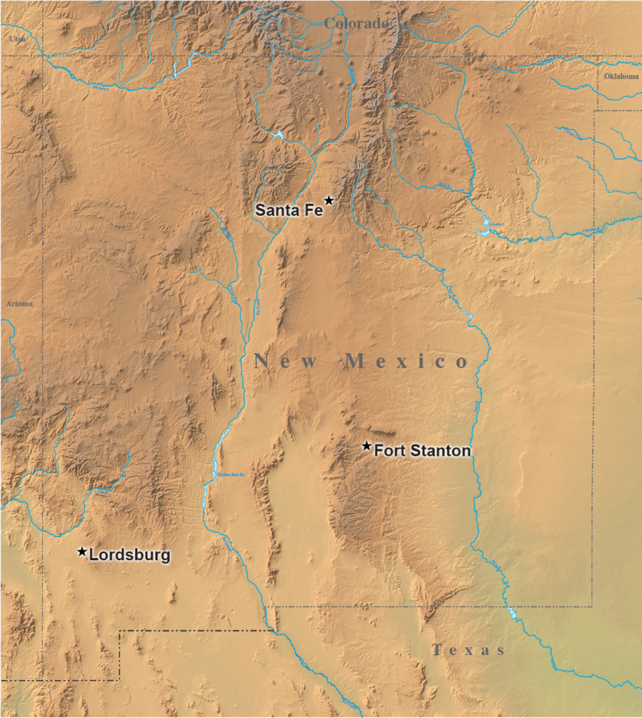 Map marking internment camps in New Mexico