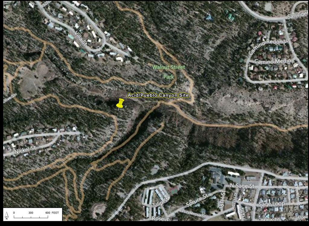 Map marking Acid Canyon
