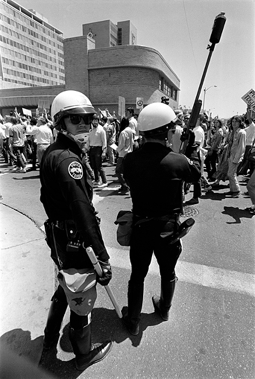 Police monitoring demonstrations in response to the Kent State Massacre in 1970 at the UNM campus in Albuquerque