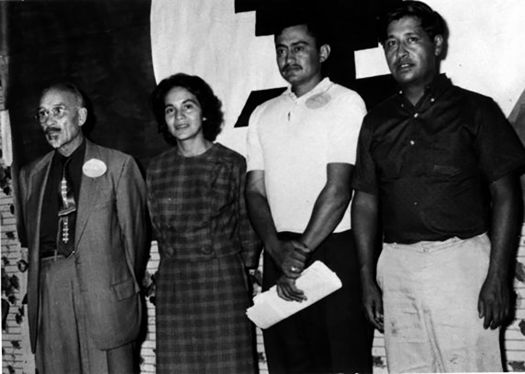 activists Dolores Huerta and César Chávez with two other members of the National Farmworkers Association at its founding convention