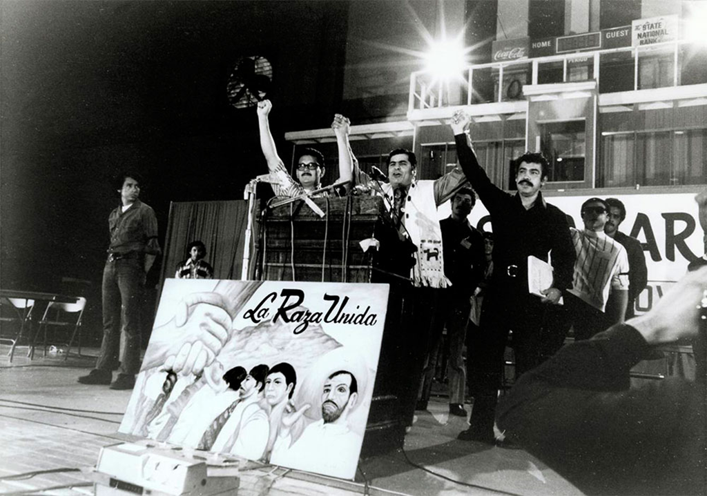 "José Angel Gutiérrez, Reies López Tijierina, and Rudolfo ""Corky"" González at the initial convention of the Raza Unida Party in El Paso in 1972"