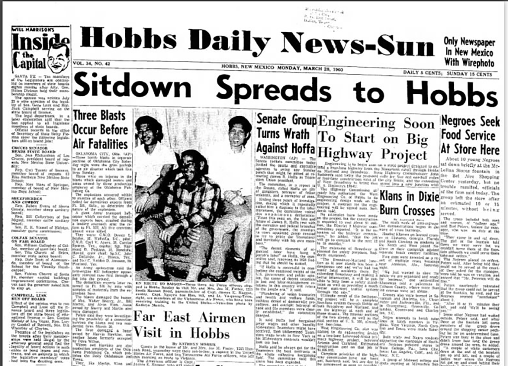 Hobbs Daily News-Sun, March 28, 1960, with an article on the sit-in at the McLellan store's soda fountain