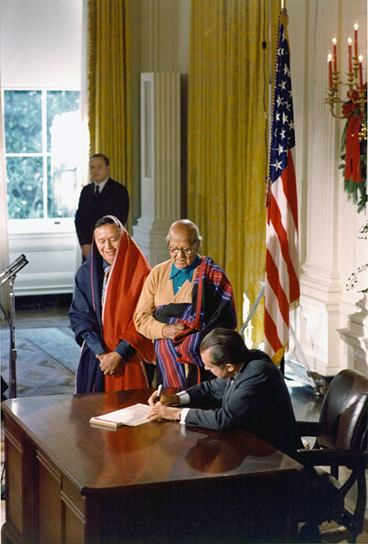 the Presidential ceremony in which Richard Nixon signed the bill that returned Blue Lake to Taos Pueblo, December 15, 1970