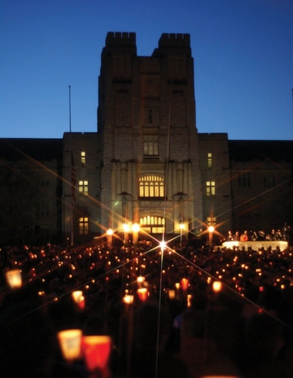 Students at Virginia Tech hold a candlelight vigil after the Virginia Tech massacre