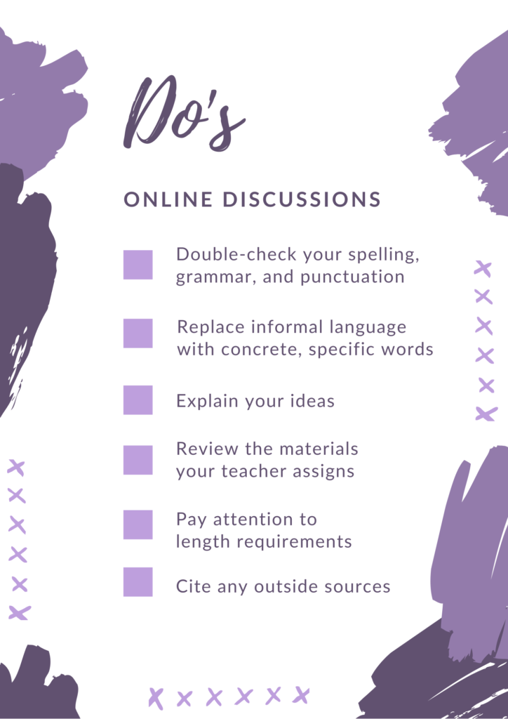 online, discussions, do's, list