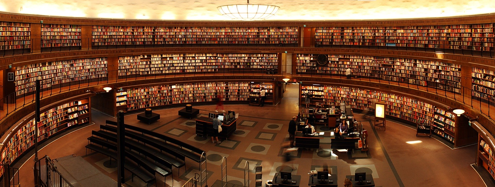 A picture of a library filled with books.