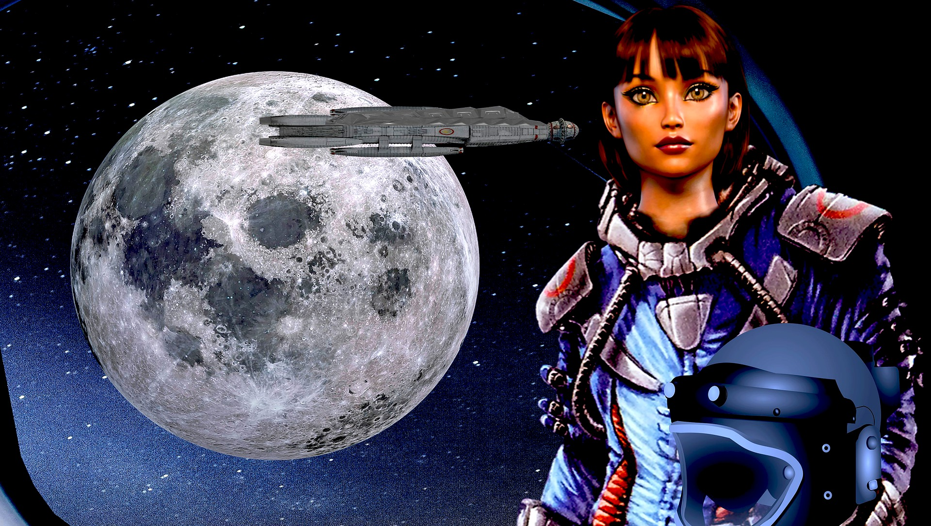 An illustration of a woman wearing a spacesuit with the moon and a spacecraft in the background.